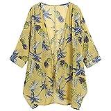 Cardigan Frauen Casual Blumendruck Langarm Chiffon Strickjacke Lose Kimono Bluse Tops