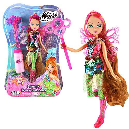 Winx Club Flora | Sirenix Fairy Bubbles Puppe Fee 28 cm | Seifenblasen Magie (Puppen Winx Set)