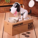 HapiLeap Black Lovely Puppy Hungry Eating Dog Kids Bank Coin-Eating Money Saving Box Gift (White)