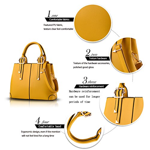 Tisdaini Portafoglio delle borse di affari del sacchetto del messaggero della spalla di modo della borsa dell'unità di elaborazione delle donne giallo