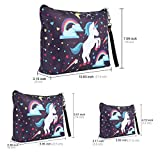 Panlom® Set of 3 Makeup Bags Brush Pouch Toiletry Wash Bag Portable Travel Make Up Case Pouch For Women Girls (Unicorn)