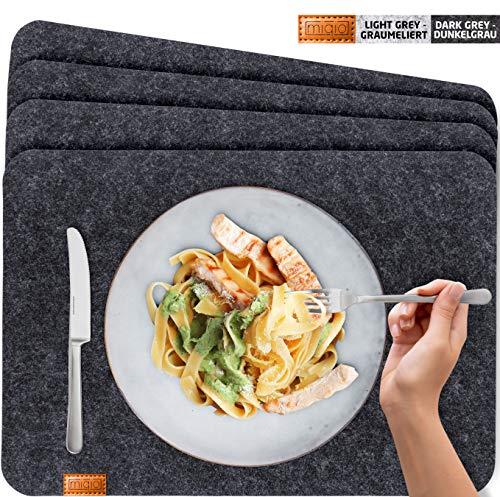 Miqio® - Design Platzset - Filz und Leder - 6 waschbare Premium Tischsets/Untersetzer (dunkelgrau anthrazit) -
