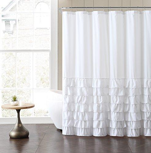 vcny Home Vorhang für die Dusche, Polyester, Weiß, 72x 72