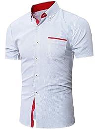 WINWINTOM Moda de Verano Camisetas, 2018 Hombre Camisetas y Polos, Hombres Casual Manga Corta Camisa Negocio Ajustado Camisa…