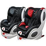 Buhitos, silla de coche bebé Freya Fix, grupo 0+ y 1 con isofix, rotación 180 grados y posibilidad contramarcha, color GRIS-NEGRA
