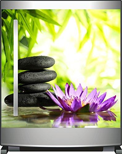 Wallario Kühlschrank-Aufkleber / Geschirrspüler-Aufkleber, selbstklebende Folie für Küchenschränke - 60 x 60 cm, Motiv: Steinstapel in schwarz mit Blumenblüte in lila