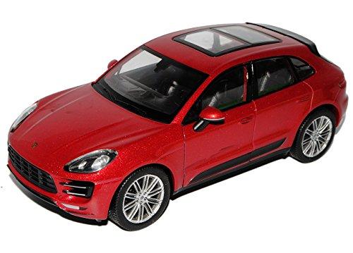 Welly Porsche Macan Turbo Rot Metallic Ab 2014 1/24 Modell Auto mit individiuellem Wunschkennzeichen
