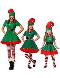 LSERVER Kinder Weihnachtself Kostüm Cosplay Eltern-Kind Weihnachtskostüm
