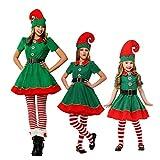 LSERVER Traje de Navidad para Fiesta en casa Ropa de Elfo Navidad Costume Navideño para Toda la Familia, Mujer/Niña, 110cm