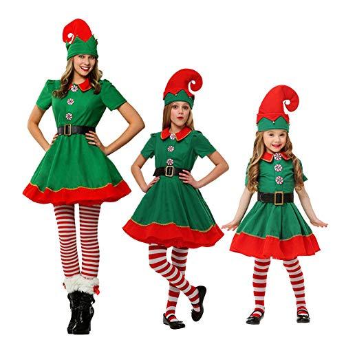 LSERVER Kinder Weihnachtself Kostüm Cosplay Eltern-Kind Weihnachtskostüm, Bildfarbe -