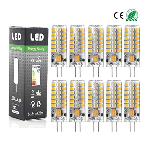 10er Pack- ANGGE G4 LED Corn Glühlampe hohe Energie G4 5W 13mm 48 SMD 2835 AC DC 12V LED-Licht Silikon Scheinwerfer Birnen Lampe Warm weiß Dimmbare [Energieklasse A+] - (Warm Weiß)
