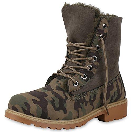 SCARPE VITA Damen Stiefeletten Warm Gefüttert Worker Boots Profil Sohle 165689 Grün Camouflage Warm Gefüttert 39