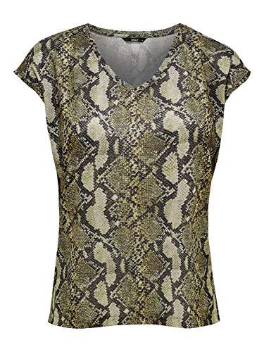 ONLY NOS Damen T-Shirt onlSILVERY Leo S/S V Neck Lurex TOP NOOS Mehrfarbig (Warm Sand AOP: Snake Print) 34 (Herstellergröße: XS)