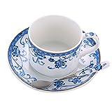 Keramik Kaffeetasse Set britische Nachmittagstee Tasse mit Teller & Löffel (blau / weiß)