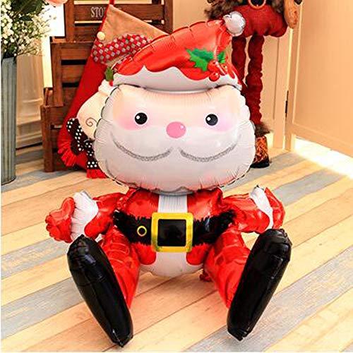 Huhuswwbin Weihnachtsdekoration, 3D-Stereo-Weihnachtsmann, Folienballon, Weihnachten, Party, Heimdekoration, Kinderspielzeug, Geschenk, zufällige Farbe