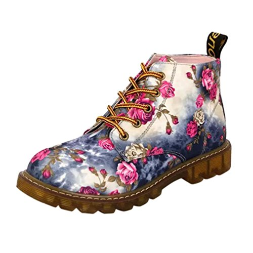 VEMOW Shop Women Floral Print Boots New Ladies Soft Flat Ankle Shoes Female Lace-Up Boots