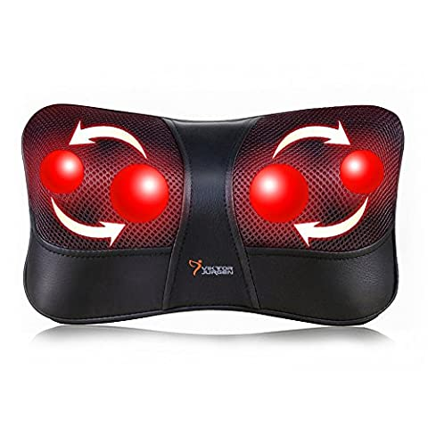 VIKTOR JURGEN Neck and Back Massage Pillow Shiatsu Deep Kneading Massager +Infrared Heating +3D Rotating Massage +Suitable for Multi Voltage and Car +3 Year