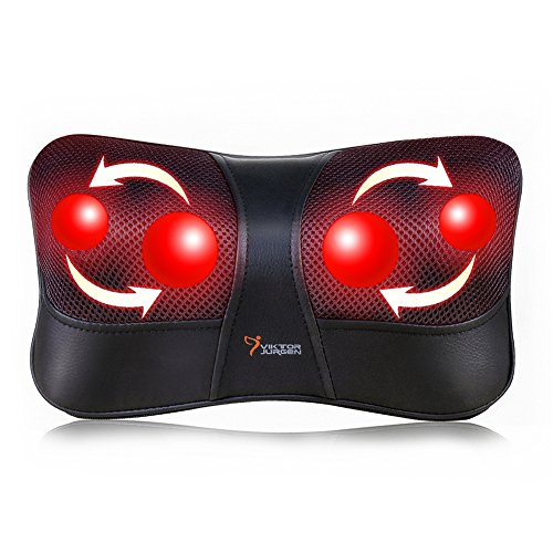 VIKTOR JURGEN Neck and Back Massage Pillow Shiatsu Deep Kneading Massager +Infrared Heating +3D Rotating Massage +Suitable for Multi Voltage and Car +3 Year Warranty