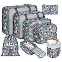 Packing Cubes for Suitcase, DIMJ 8 PCS Travel Luggage Organiser Set High Quality Durable Travel Essentials Bag Clothes Shoes Cosmetics Toiletries Cable Storage Bags