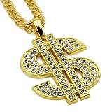 TAKURO Goldkette Herren, Hip Hop Kette Herren, Glatte Goldbarren Halskette Herren (Gold Dollar Kette)