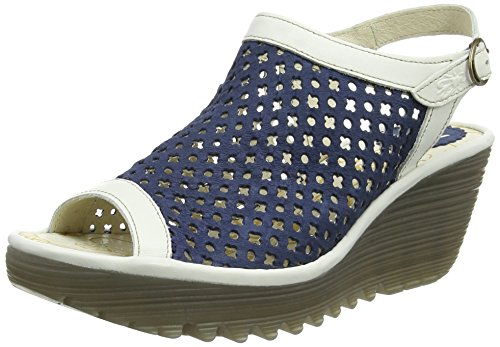 Fly London P500734009, Sandali con Zeppa Donna Blu (blue/offwhite 003)
