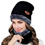 Warm Knitted Hat, Winter Warm Beanie Hat, Warm Knitted Hat and Circle Scarf Sets, Unisex Winter Warm Knitted Beanie Hats Cap, Skiing Hat,Outdoor Sports Hat Sets(Black)