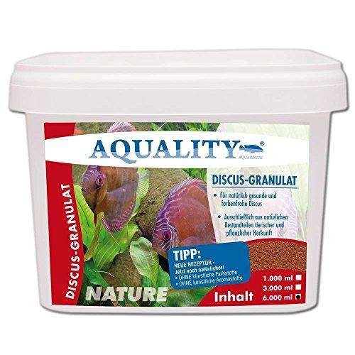AQUALITY NATURE Discus Granulat 6.000 ml (GRATIS Lieferung innerhalb Deutschlands - Für natürlich gesunde und farbenfrohe Diskus-Fische im Aquarium - Ohne künstliche Farb- und Aromastoffe - Für ei