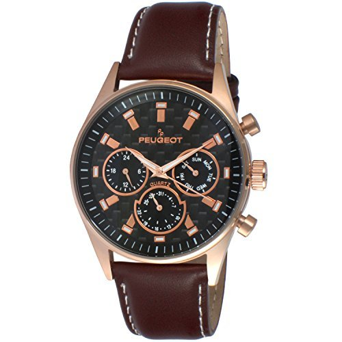 Peugeot Men's Multi Dial Chronograph Sport Watch with Brown Leather Band 2048RBR
