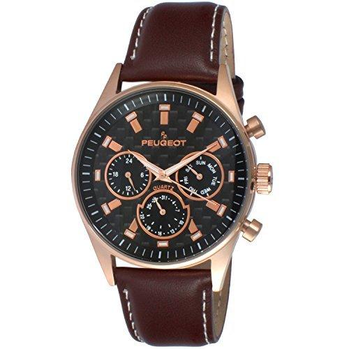 Peugeot pour homme Multi Cadran chronographe montre de sport avec bande de cuir Marron 2048rbr