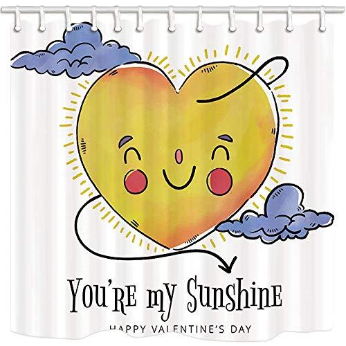 y Shower Curtain by Herzförmige Sun Cloud Sie sind Mein Sonnenschein Bad Mildew beständiges Polyestergewebe wasserdicht Duschvorhang Set mit Haken 71X71in ()