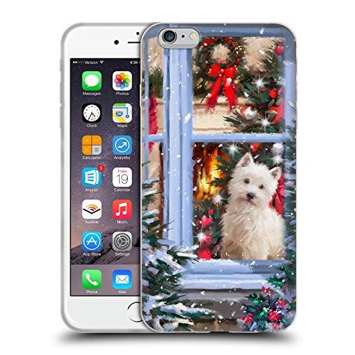 Offizielle The Macneil Studio Hund Fenster Weihnachtstiere Soft Gel Hülle für Apple iPhone 6 Plus / 6s Plus