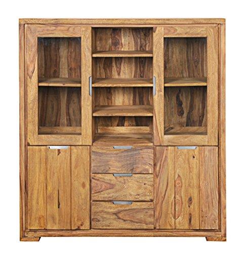 SAM® Highboard White Mountain aus massivem Sheeshamholz, mit fünf Schubladen und zwei Holztüren