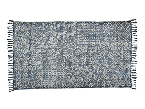 Store Indya, Tessuto a mano morbido cotone grande pavimento di moquette con afflitto stampa floreale (Cotone Tessuto Piano Tappeto)