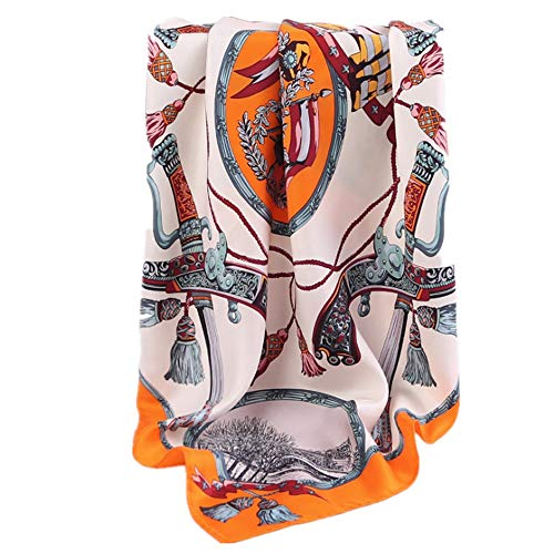 Duhongmei123 Schal Schal Europa und Amerika Twill Seide Square Handtuch handgefertigt Curling bedruckter Seidentuch, Mode-Accessoires (Farbe : Orange)