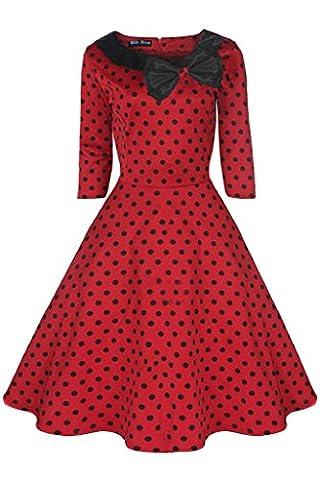 Robe vintage Party années 50Années 60Collier Rouge à manches Motif à pois Noir Taille UK 8–24 - rouge - 52