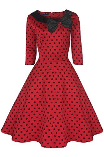 Vintage Kleid 1950er 1960er Party Rot Schwarz Polka Dot Sleeve Halsband Größe UK 8–24 Rot - Rot