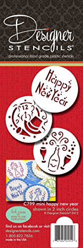 Designer Schablonen C799 Mini Happy New Year Schablonen-Set, beige/halbtransparent -