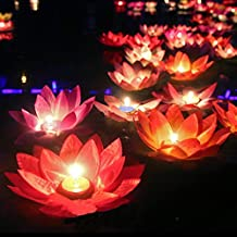 10pcs multicolor de loto de seda luz de la linterna con la vela flotante decoraciones piscina deseando a la decoración del partido cumpleaños boda de la lámpara
