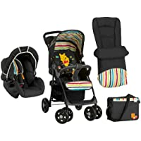 Hauck Disney Shopper Shop-N-Drive Set Lightweight Travel System, from Birth, Pooh Tidy Time, Black (Car Seat, Foot Muff, Change Bag and Raincover)