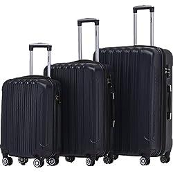 BEIBYE TSA Schloß, Zwillingsrollen, Dehnungsfuge, Hartschale Trolley Koffer Kofferset Reisekoffer Gepäckset (Dunkelblau)