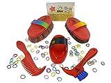Di alta qualità bambino Pulizie set attrezzatura per la pulizia per cavalli in rosso in materiali c