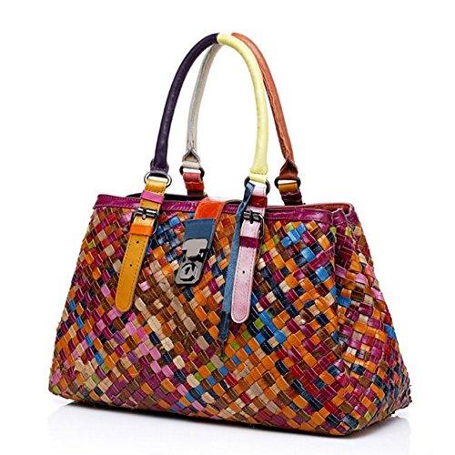 Damen Casual Rind Leder Umhängetasche Handtaschen Henkeltaschen Schultertasche Collage Gradient (Mode 1)