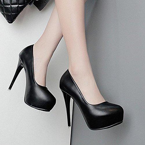 Gtvernh-les Chaussures Noires Avec Une Toile De Fond A Des Chaussures À Talons Hauts Asakuchi Occupation Travail Chaussures, 36 Trente-cinq