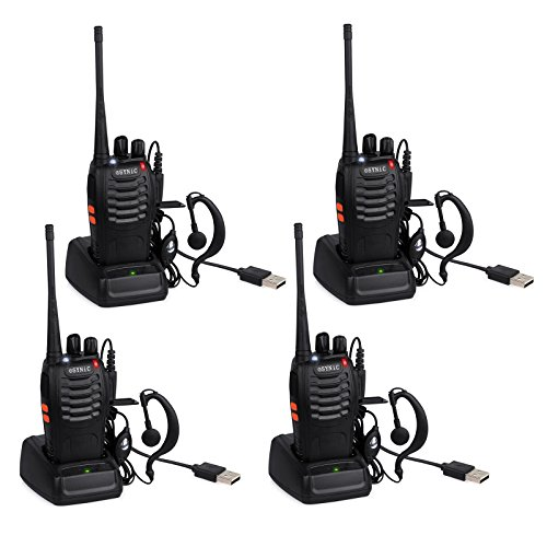 ESYNIC-Walkie-Talkies-Long-Range-Walkie-Talkie-with-Original-Earpieces-4pcs-UHF-400-470MHz-Two-Way-Radio-Walky-Talky-16CH-Single-Band-Supports-VOX-LED-Light-Voice-Prompt-for-Field-Survival-Biking-and-
