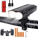 LED Bike Light Set, USB Rechargeable Bike Light Set with 4 Light Modes