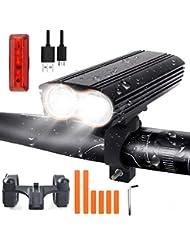 LED Luz Bicicleta, Juego de luces recargables USB para bicicleta con 4 modos de luz, 1200 Lumen Juego de luces LED para bicicleta de montaña con luz doble, impermeable IP65 , Ciclismo y acampada