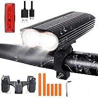 Fahrradlicht Set, VISLAN USB Wiederaufladber LED Fahrradbeleuchtung, 2400 Lumens Fahrradlampe mit 4400mAh Li-Akku, IP65 Wasserdicht Frontlichter und Rücklicht für Mountainbikes, Nachtfahrer, Camping