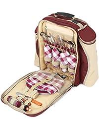 Greenfield Collection Deluxe - Mochila de picnic para cuatro personas, color rojo cereza