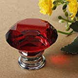 DaDago 40Mm Diamant Cristal Porte Bouton Tiroir Armoire Poignée Bouton Vis - Rouge