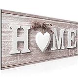 Bilder Home Herz Wandbild 100 x 40 cm Vlies - Leinwand Bild XXL Format Wandbilder Wohnzimmer Wohnung Deko Kunstdrucke Rot 1 Teilig -100% MADE IN GERMANY - Fertig zum Aufhängen 504412b